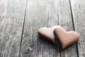 Handmade wooden hearts